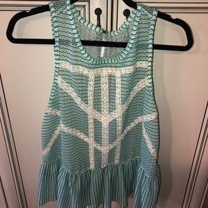 Free people lace weave top open back